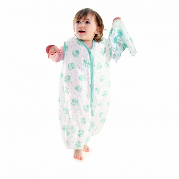 Lifestyle Image - Muslin Mint Owl with Feet and Muslin Cloth Mint Owl