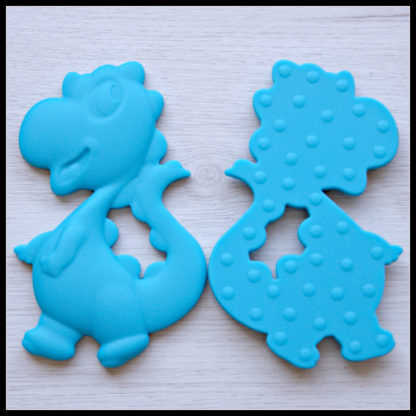 Little People and Me - BPA Free Food Grade Silicone Jewellery and Teethers - Dinosaur Teether in Blue