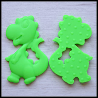 Little People and Me - BPA Free Food Grade Silicone Jewellery and Teethers - Dinosaur Teether in Neon Green