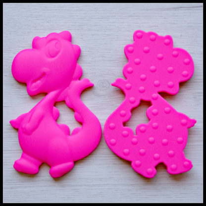 Little People and Me - BPA Free Food Grade Silicone Jewellery and Teethers - Dinosaur Teether in Neon Pink