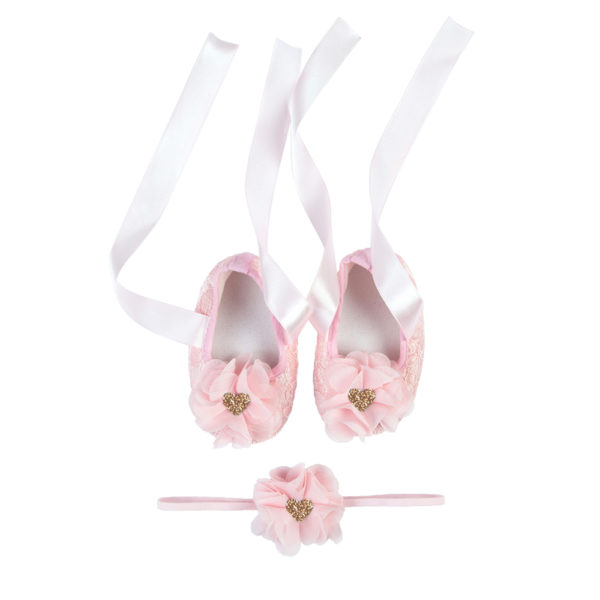 La Vera Kids Little Rebels Collection - Baby Shoe Set - Pink with Pink Flower Headband and Rose Gold Glitter Heart