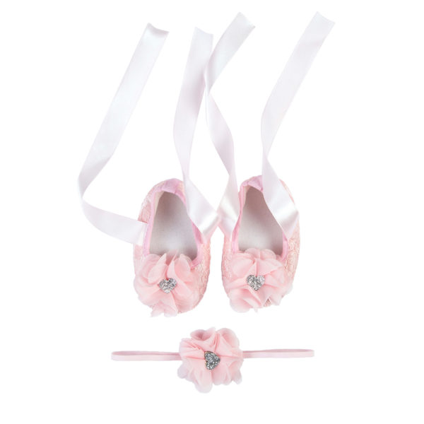 La Vera Kids Little Rebels Collection - Baby Shoe Set - Pink with Pink Flower Headband and Silver Glitter Heart
