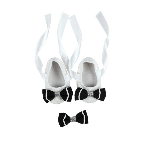 La Vera Kids Little Rebels Collection - Baby Shoe Set - White with Black, White & Silver Bow