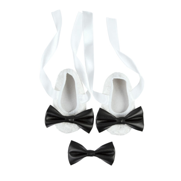 La Vera Kids Little Rebels Collection - Baby Shoe Set - White with Leatherette Bow