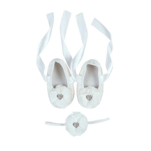 La Vera Kids Little Rebels Collection - Baby Shoe Set - White with White Flower Headband and Silver Glitter Heart