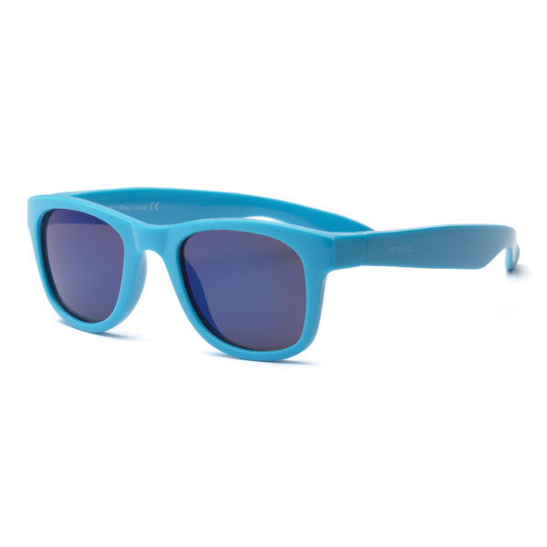 Real Kids Shades - Surf - Neon Blue with Sky Blue Mirror Lens