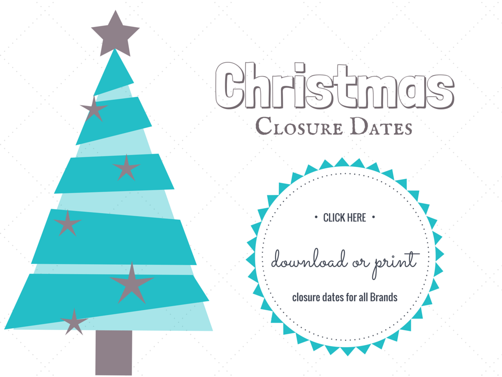 Christmas Holiday Closures for Wholesale Baby and Brands