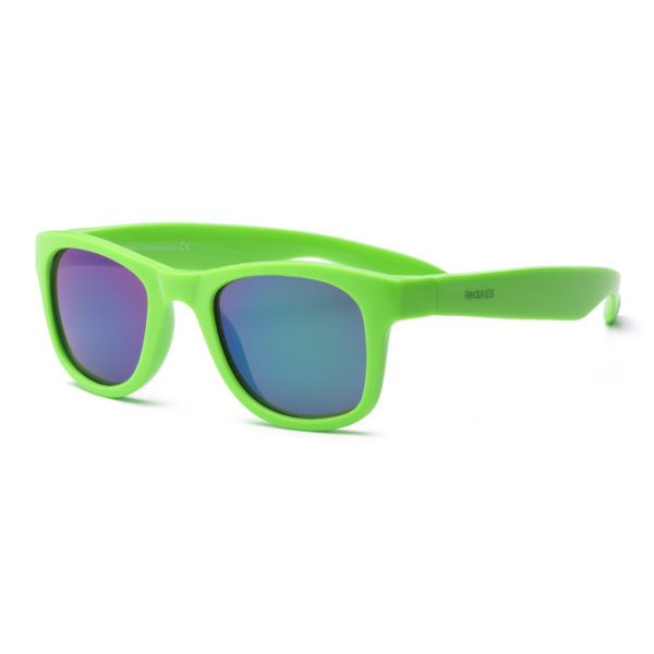 Real Kids Shades - Surf - Neon Green with Green Mirror Lens