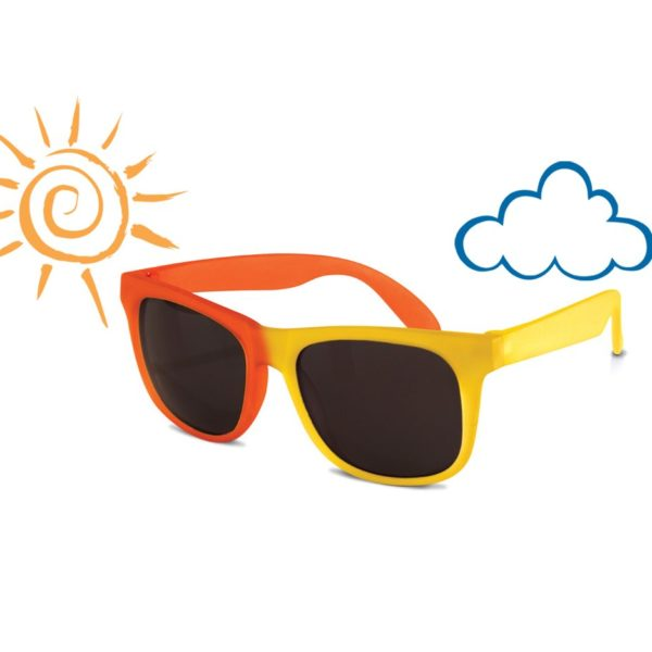 Real Kids Shades - Switch - Yellow-Orange with PC Smoke Lens - Sunny-Cloudy 001